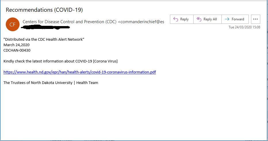 Example of coronavirus scam email