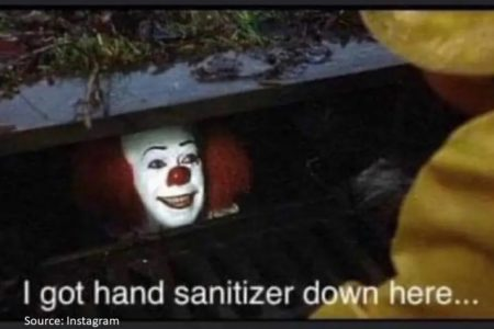 Clown face from the movie IT used in a coronavirus hand-sanitiser meme