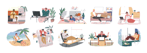 Images of people working from home and other places